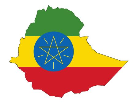 Flag Within Map of Ethiopia