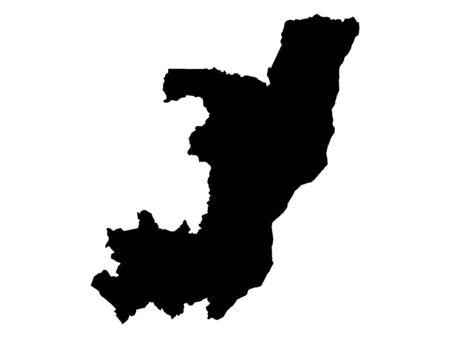 Black Flat Map of Republic of the Congo Standard-Bild - 134548211