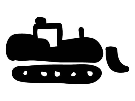 Simple Black Silhouette Drawing of a Bulldozer