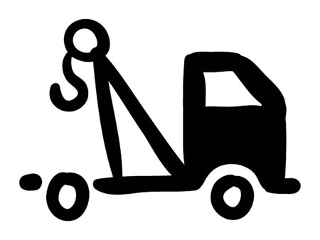Simple Black Silhouette Drawing of a Towing Truck