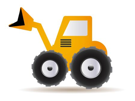 Yellow 3D Illustration of a Bulldozer