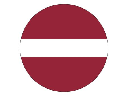 Round Flat Flag of Latvia Иллюстрация