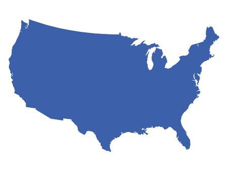 Mapa azul de los Estados Unidos de América Ilustración de vector