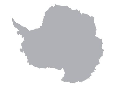 Silver Map of Antarctica on White Background