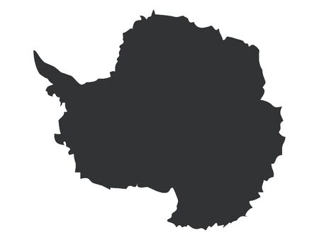 Black Map of Antarctica on White Background