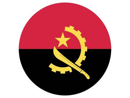 Round Flat Flag of Angola 일러스트