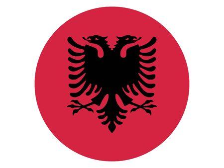 Round Flat Flag of Albania