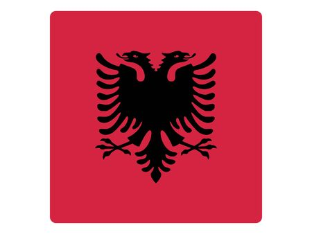 Square Flat Flag of Albania 일러스트