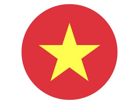 Round Flat Flag of Vietnam 일러스트