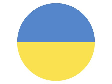 Round Flat Flag of Ukraine
