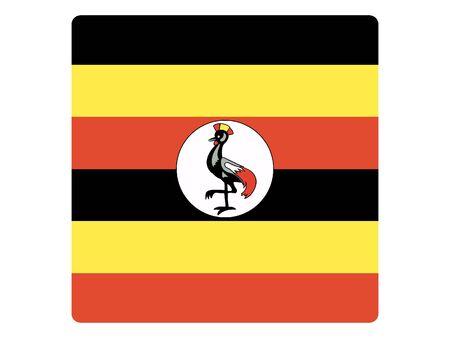 Square Flat Flag of Uganda Иллюстрация
