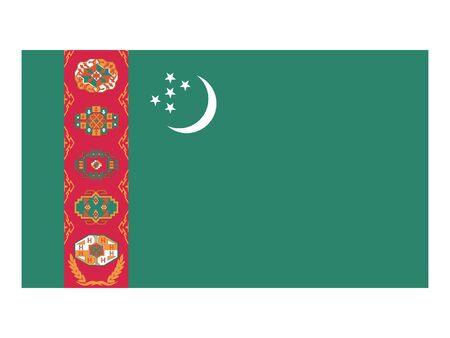 Flat Flag of Turkmenistan