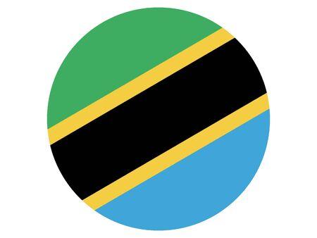 Round Flat Flag of Tanzania