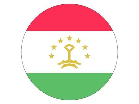 Round Flat Flag of Tajikistan Иллюстрация