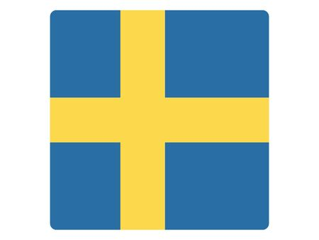 Square Flat Flag of Sweden 向量圖像
