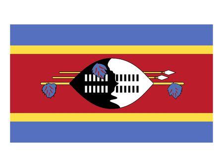 Flat Flag of Swaziland 일러스트
