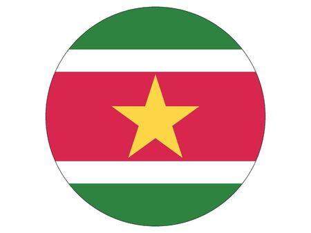 Round Flat Flag of Suriname 일러스트