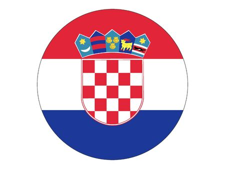 Round Flat Flag of Croatia  イラスト・ベクター素材