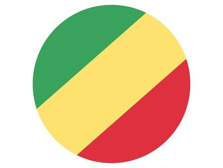 Round Flat Flag of Republic of the Congo Standard-Bild - 134548521