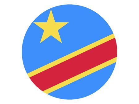 Round Flat Flag of Democratic Republic of the Congo Standard-Bild - 134548518
