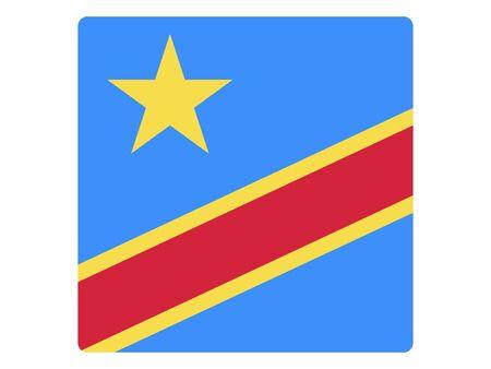 Square Flat Flag of Democratic Republic of the Congo Standard-Bild - 134548520