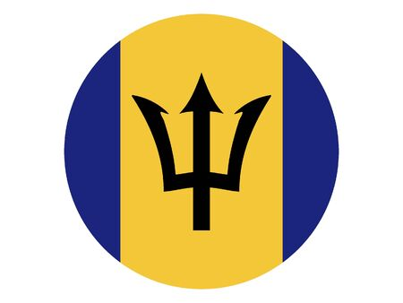 Round Flat Flag of Barbados