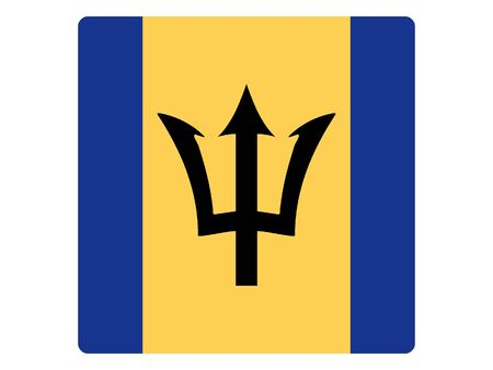 Square Flat Flag of Barbados Illustration