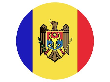 Round Flat Flag of Moldova