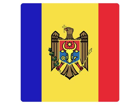 Square Flat Flag of Moldova
