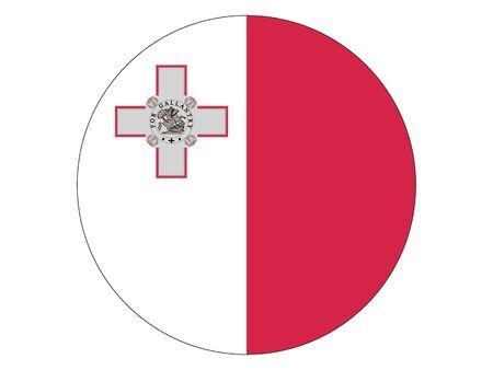 Round Flat Flag of Malta 일러스트