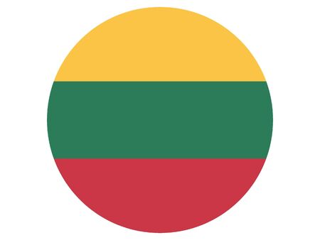 Round Flat Flag of Lithuania Иллюстрация