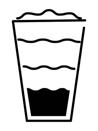 Simple Black Outline Silhouette Illustration of a Frappe