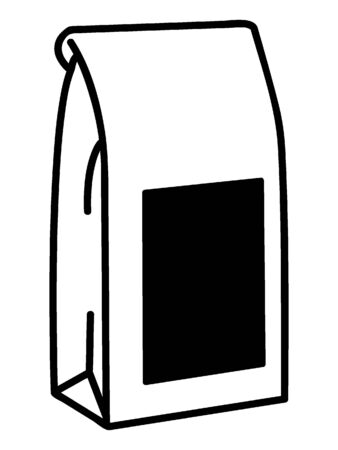 Simple Black Outline Silhouette Illustration of a Bag of Ground Coffee