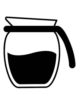 Simple Black Outline  Silhouette Illustration of a Filter Coffee Pot