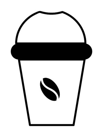 Simple Black Outline Silhouette Illustration of a Coffee-to-go