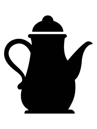 Simple Black Silhouette Illustration of a Tall Coffee Pot