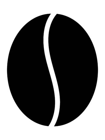 Simple Black Silhouette Illustration of a Coffee Bean