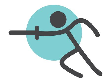 Simple Outline Flat Black Icon of a Fencer