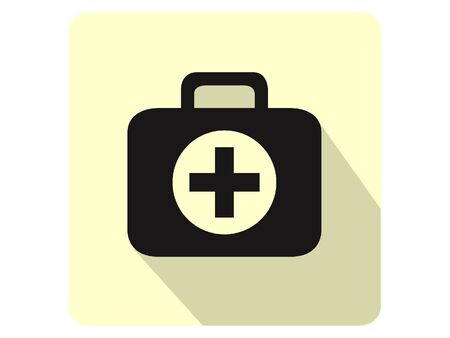 3D Silhouette Illustration of a First Aid Kit Icon
