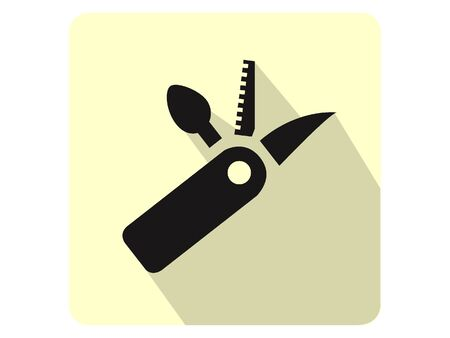 3D Silhouette Illustration of a Multi-tool Pocketknife Icon Banco de Imagens - 135917729