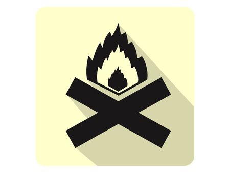 3D Silhouette Illustration of a Camp Fire Danger Icon