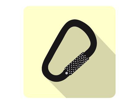 3D Silhouette Illustration of a Carabiner Icon
