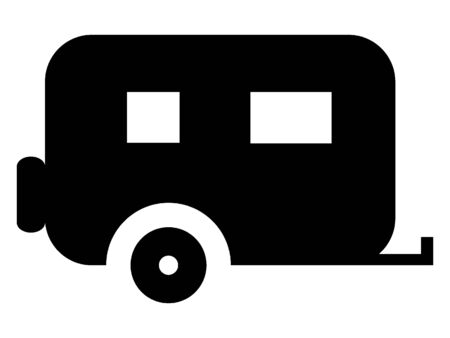 Black Flat Vector Illustration of a Camping Trailer
