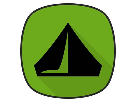3D Silhouette Illustration of a Camping Tent Icon