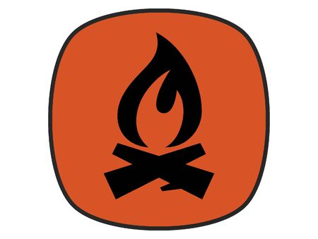 Flat Silhouette Illustration of a Fire Hazard Icon