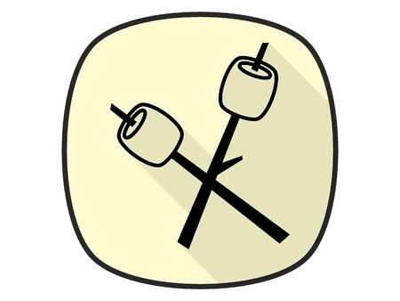 3D Silhouette Illustration of a Marshmallow on a Stick Icon