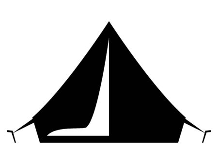 Black Flat Vector Illustration of a Camping Tent
