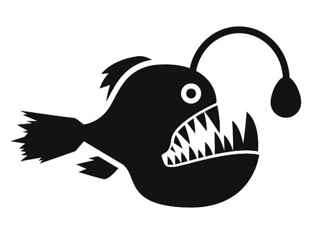 Simple Hand Drawn Outline Silhouette Illustration of a Deep Water Fish Иллюстрация