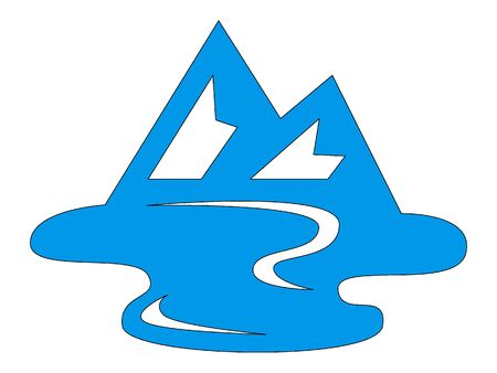 Simple Hand Drawn Outline Silhouette Illustration of a Blue Mountain Stream