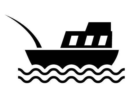 Simple Hand Drawn Outline Silhouette Illustration of a Fishing Boat Vektoros illusztráció